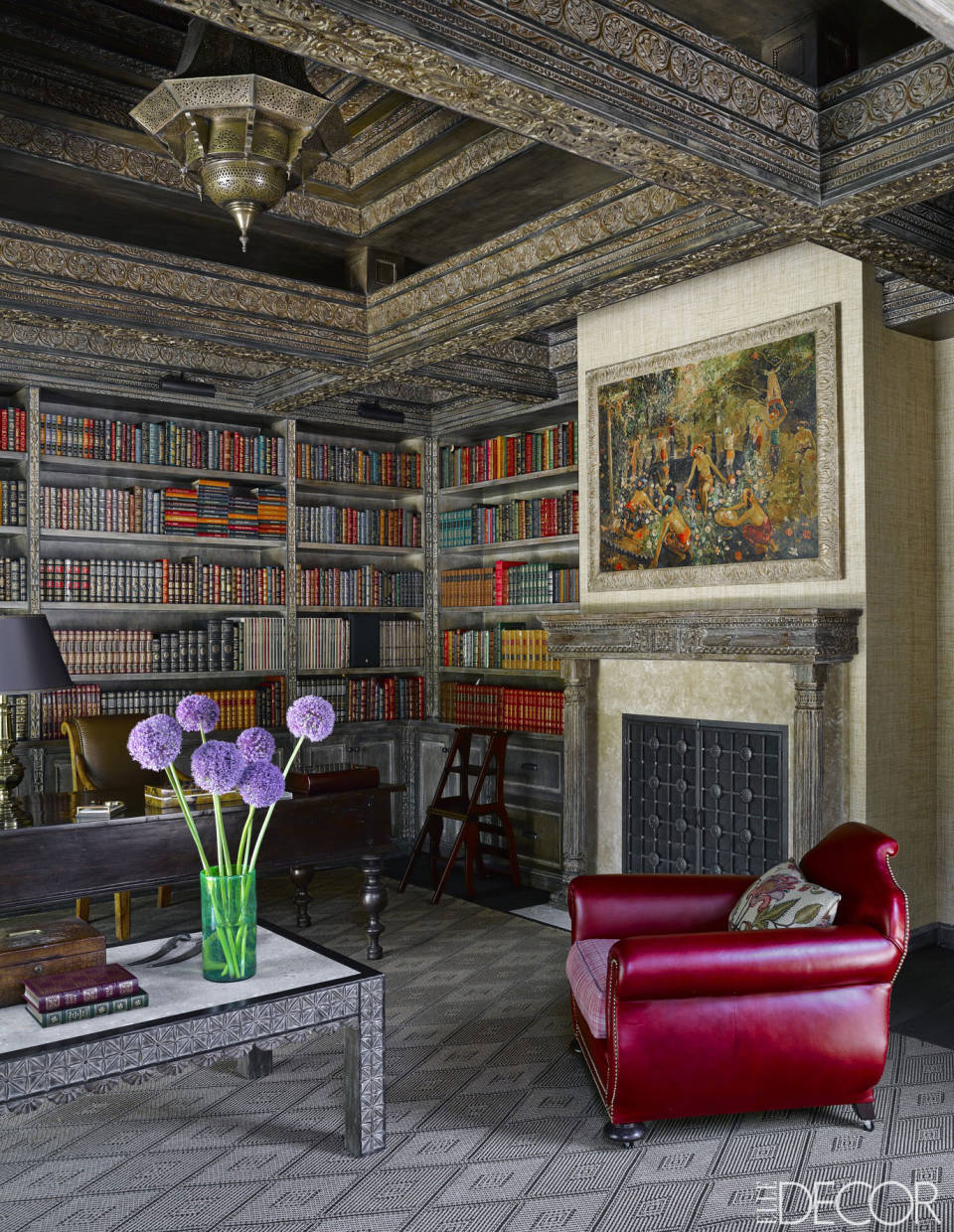 Gorgeous interior design in luxury library by Martin Lawrence Bullard