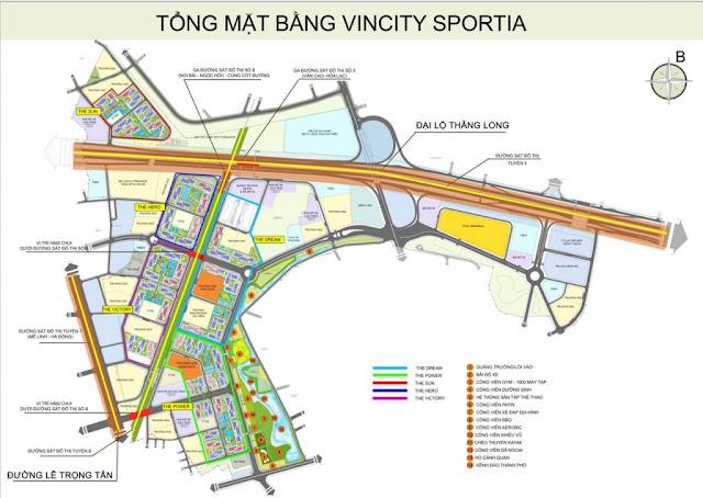 Mặt bằng tổng quan các phân khu Vincity Sportia