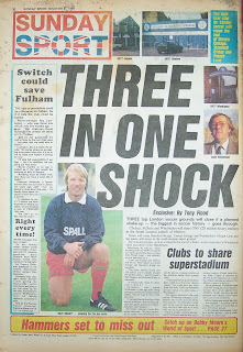 Back page of the Sunday Sport from 9 November 86