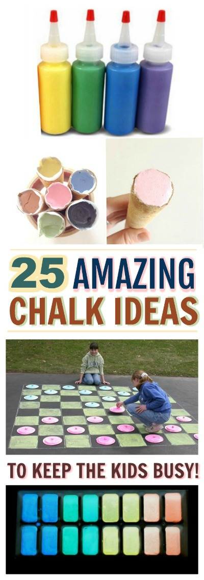 25 WAYS FOR KIDS TO PLAY WITH CHALK-  tons of ideas!  These are awesome!