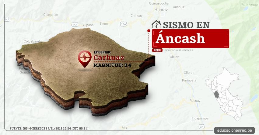 Temblor en Áncash de magnitud 3.4 (Hoy Miércoles 7 Noviembre 2018) Sismo EPICENTRO Carhuaz - IGP - www.igp.gob.pe