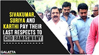 Sivakumar,Suriya and Karthi pay their last respects to Cho Ramaswamy