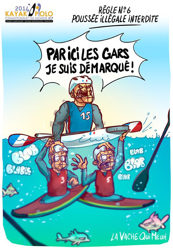 dessin humoristique par la vache qui meuh pour les championnat du monde du kayak polo en suisse normande