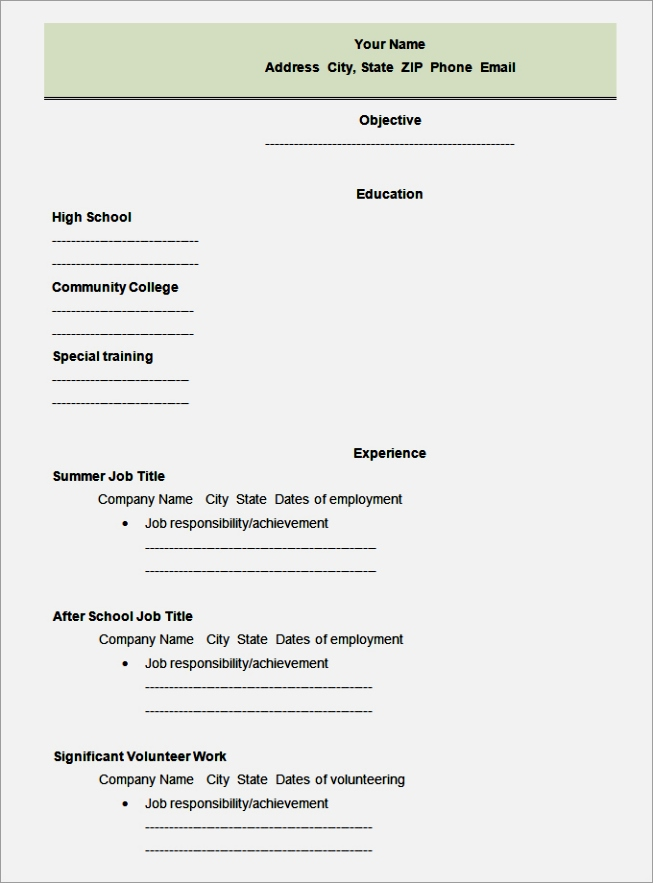 High School First Job Resume. Resume First Job Sample Resume For