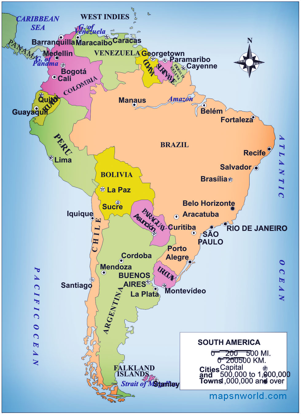graphic relating to Printable South America Map named Political Map of South The united states - Absolutely free Printable Maps