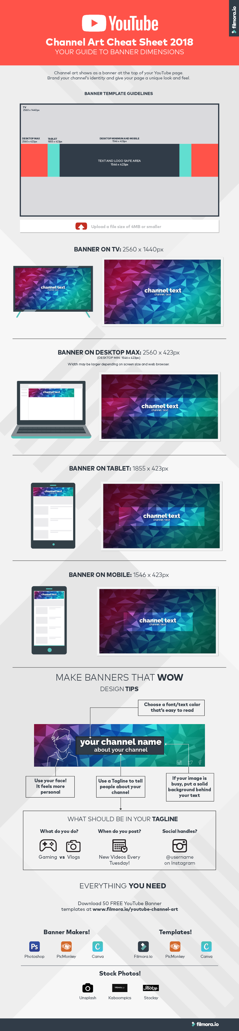 infographic - YouTube Channel Art Dimensions - Banner Sizes and Design Tips!