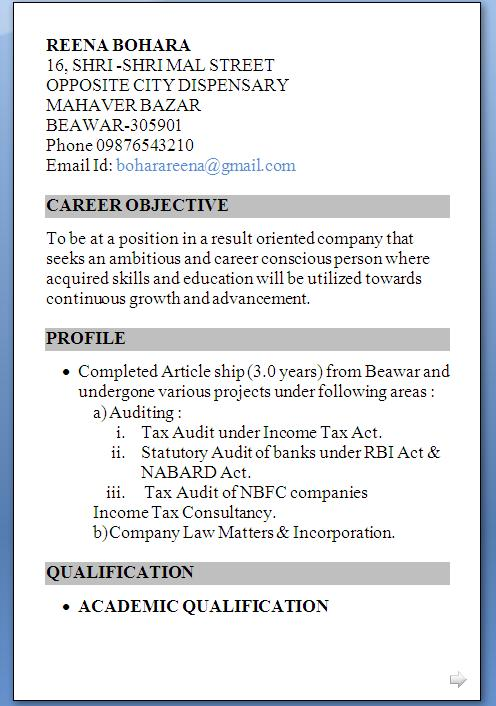 Resume Format for CA Final Students in Word Format