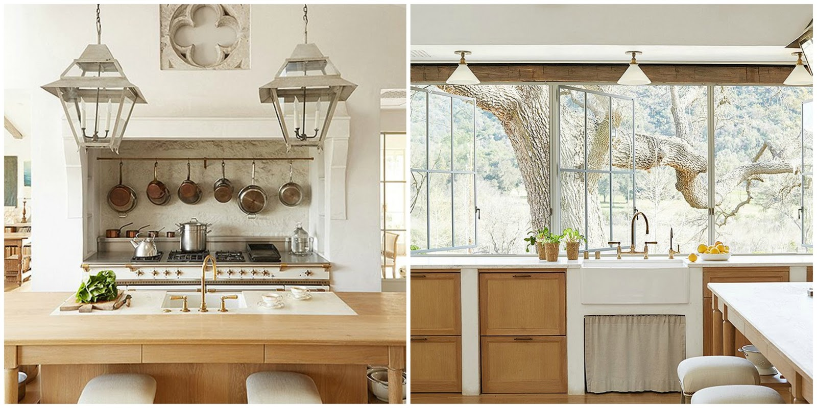 Gorgeous modern farmhouse kitchen with white oak cabinetry and Lacanche range at Patina Farm