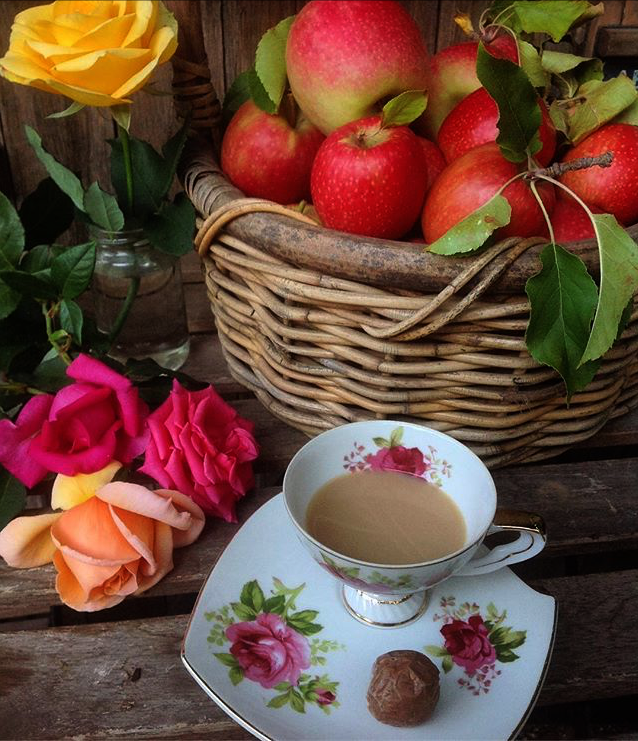 #collectandstyle, Instagram #collectandstyle, still life photography by Aida Keith @curiousmekeithy, still life with tea and apples, styling with teacups, still life with teacup