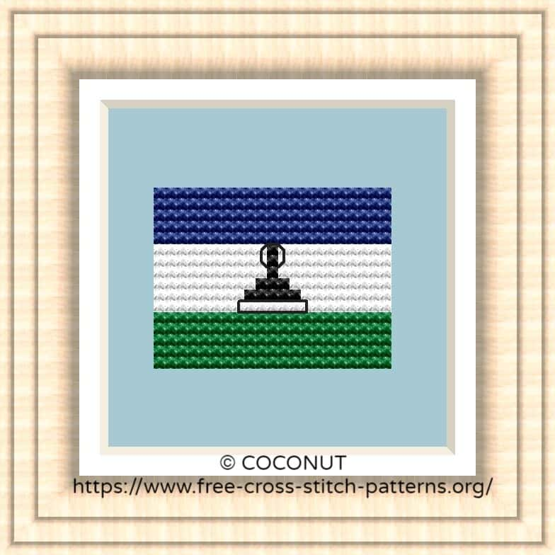 NATIONAL FLAG OF LESOTHO CROSS STITCH CHART