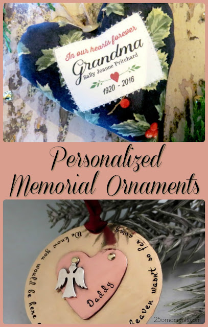 In honor of those who have gone on before us, here are two personalized memorial ornaments that would make great remembrances for families who have lost loved ones.