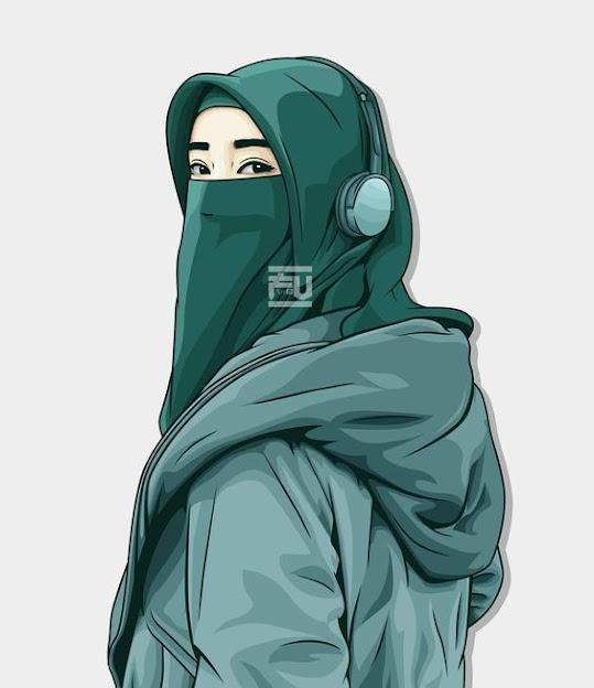 Gambar kartun muslimah dewasa bercadar