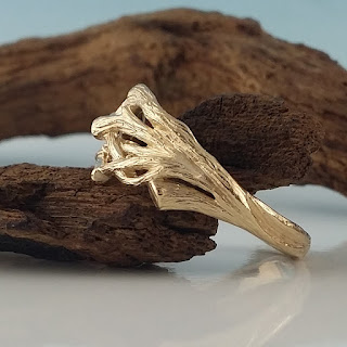 Men's Branch Wedding Band, Twig Wedding Ring, 14k, 18k, Yellow, White, Rose, Green Gold, Hand sculpted by Dawn Vertrees