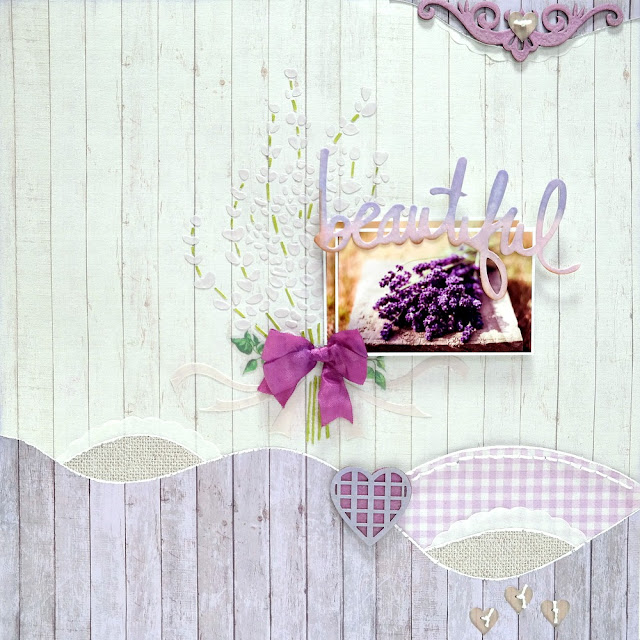 Beautiful Lavender Breeze Scrapbook Layout by Dana Tatar for FabScraps