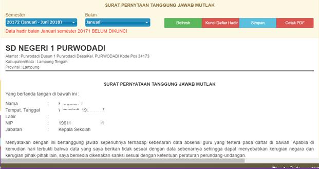 Cara mengunci daftar hadir guru online DHGTK dan membuat SPTJM