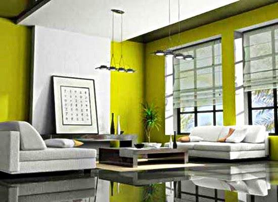 warna hijau ruang tamu