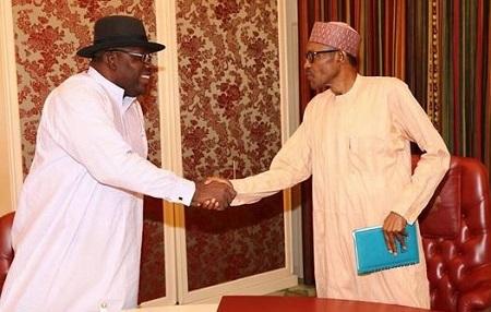 President Buhari Pictured Meeting With Bayelsa Gov. Dickson (Photos)