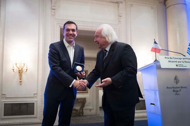 Χαιρετισμός του Πρωθυπουργού κατά τη βράβευση του με το βραβείο πολιτικού σθένους από την επιθεώρηση Politique Internationale