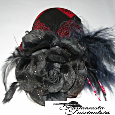 red and black Kenyan, African print fascinator