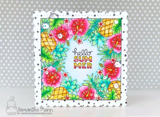 Hello Summer Card by Samantha Mann| Tropical Fringe Stamp Set, Tropical Leaves Stencil and Frames Squared Die Set by Newton's Nook Designs #newtonsnook #handmade