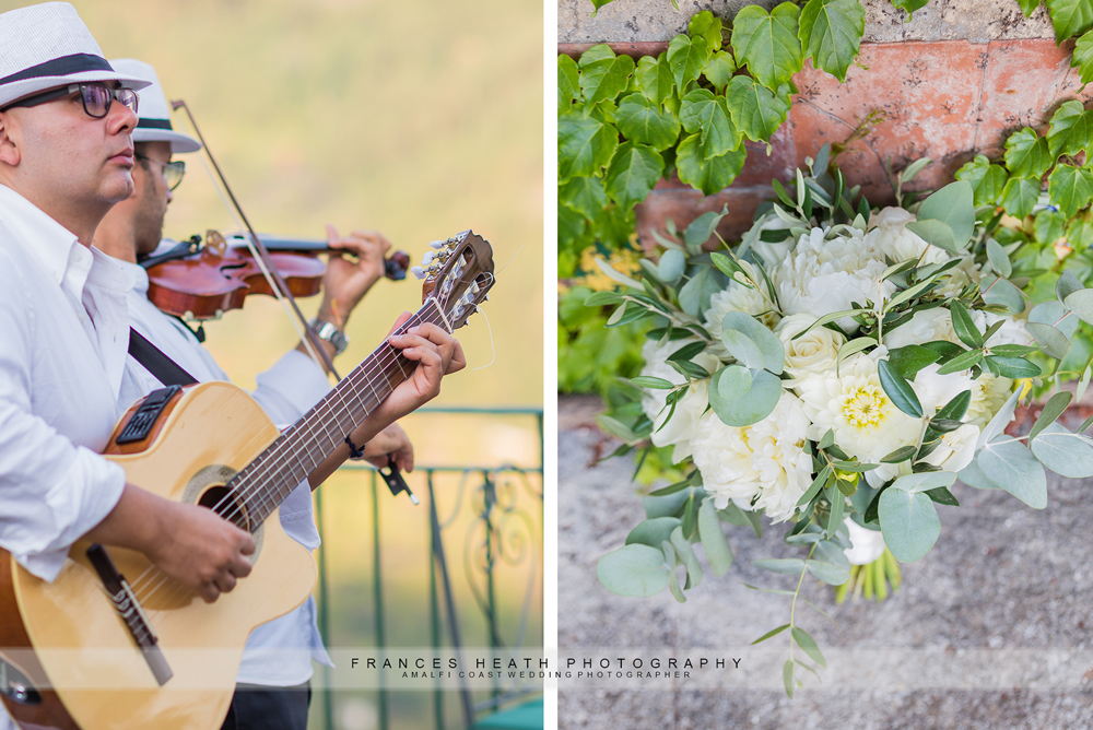 Wedding reception details flowers and music