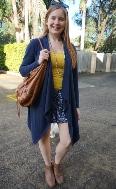 Jeanswest waterfall drape cardigan in navy night sky marle with shorts yellow tank, Balenciaga day bag | awayfromblue