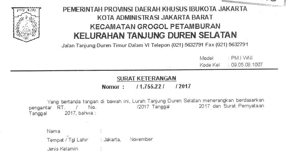 Rt 017 Rw 05 Tanjung Duren Selatan Mengurus Sendiri Surat