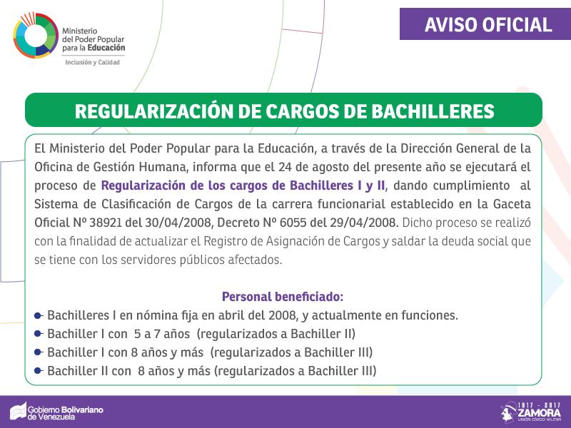 Clasificación de Cargos: Cargos Bachilleres
