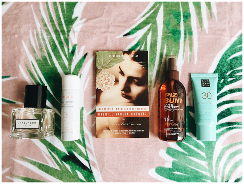 piz buin tan & protect tan accelerating oil spray, rituals the ritual of karma sun protection face cream, avène eau thermal, marc jacobs cotton perfume, beach essentials, strandessentials, review
