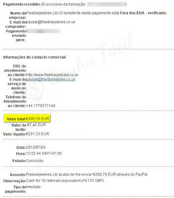 Pagamento PayPal FreebieJeebies dinheiro libras prémio prize offer ganha ganhar