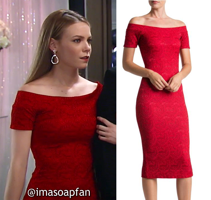 Nelle Hayes, Chloe Lanier, Red Lace Off-Shoulder-Dress, Dress the Population, General Hospital, GH