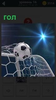 В ворота забит очередной гол под освещением прожектора , болельщики ликуют и поздравляют футболистов