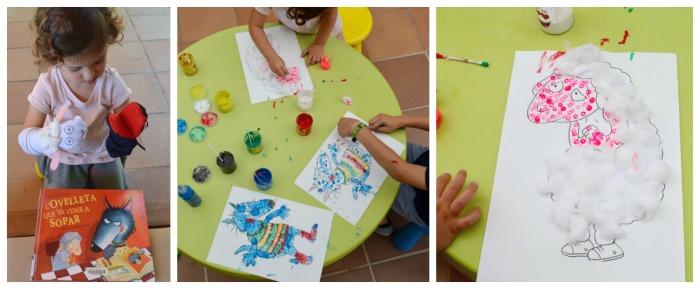 cuentos infantiles imprescindibles con actividades, juegos o manualidades pintar personajes con bastoncillos ovejita vino cenar