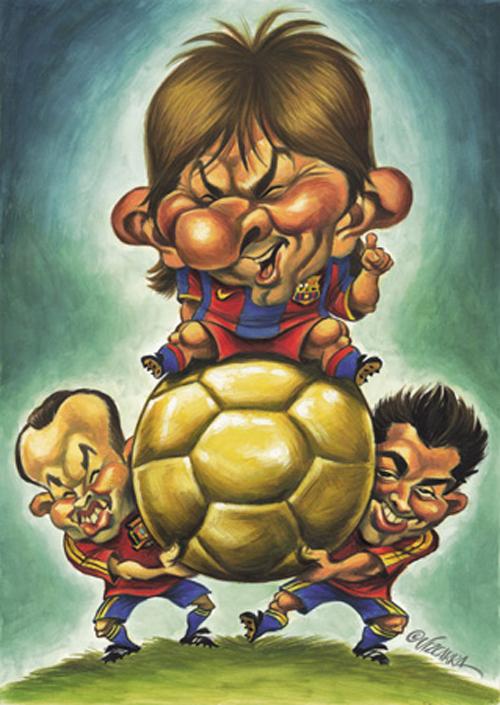 """Messi, Xavi e Iniesta"" por Joan Vizcarra"
