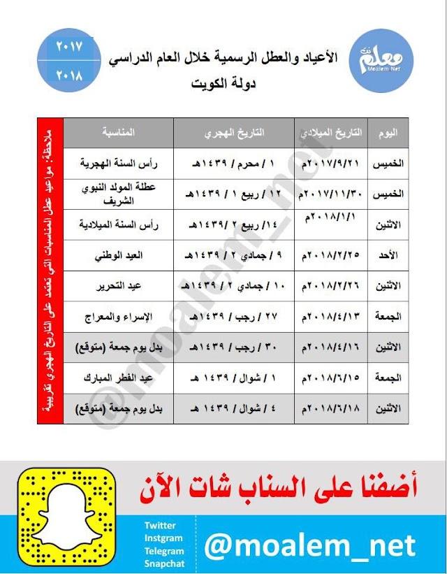 الكويت : الأعياد والعطل الرسمية خلال العام الدراسي 2018/2017