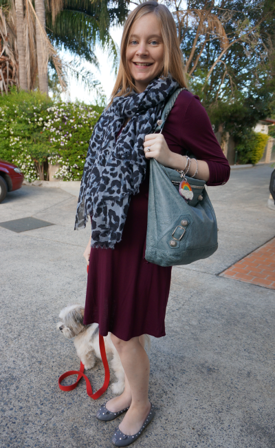 pink blush maternity burgundy dress blue leopard print scarf grey flats