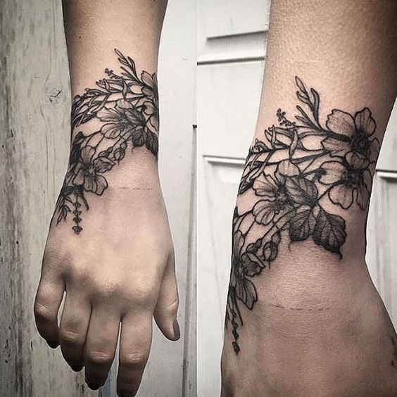 Stunning flower wrist tattoos for girls