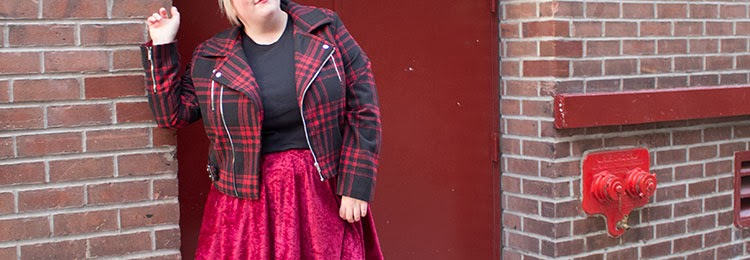 5163c604909 Plaid Moto Jacket and Velour Skater Skirt. Wearing  Wet Seal moto (runs  small! This is a 3x)