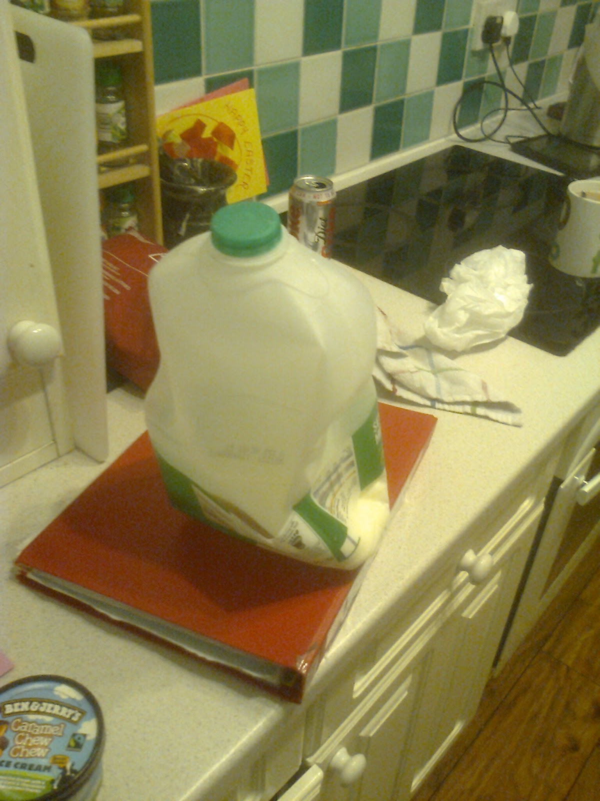 crushed milk bottle