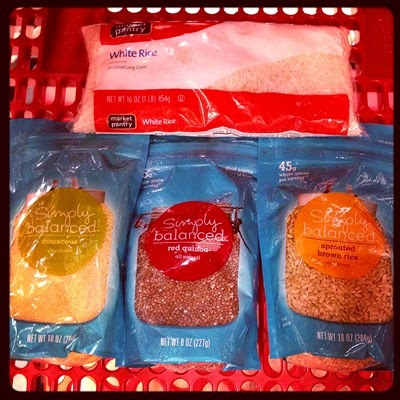 Vegetarian Vegan Food Groceries at Target Grains White Rice, Couscous, Red Quinoa, and Sprouted Brown Rice