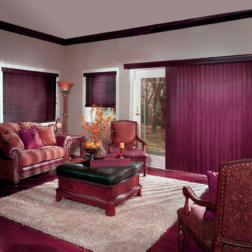 Amazing Purple Curtain Drapes Sliding Glass Door Plus Square Fur Rug Feats Coffee Table