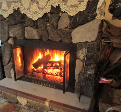 A fire in the fireplace keeps us warm-Vickie's Kitchen and Garden