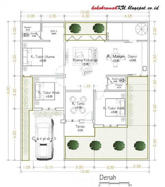 rumah 100meter sejuk design rancangan