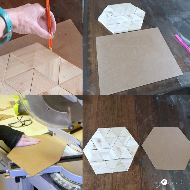 measuring a hexagon back for a triangle hexagon tray
