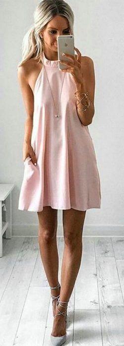 cute summer outfit idea: beautiful dress + heels