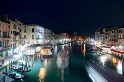 Venice with light trails during a winter night