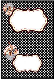 Pin Up en Negro y Rojo con Lunares: Etiquetas para Candy Buffete para Imprimir Gratis.