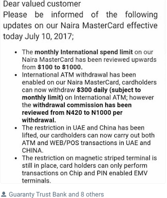 GTB Naira Master Card Limit for Foreign Transaction now $1000 Monthly