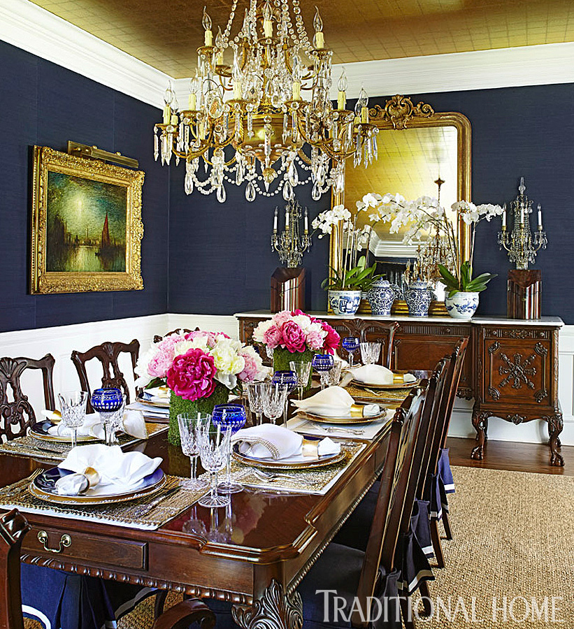 Summer in newport Blue and yellow dining room