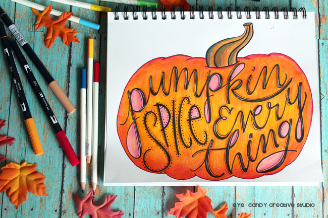 pumpkin art, colored pencils, tombowpro, sketchbook, illustrations, markers